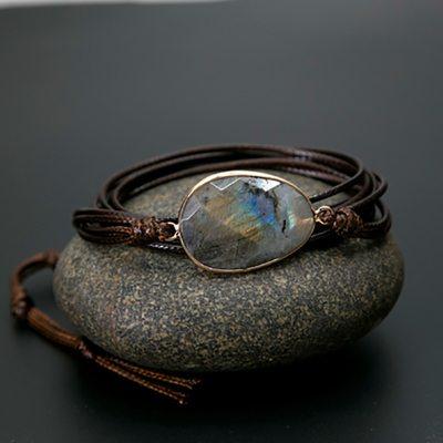 Bracelet Bohème Chic en cordes naturelles et labradorite