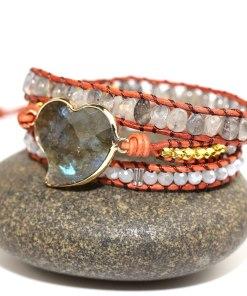 Bracelet Amour Bohème Chic coeur en Labradorite