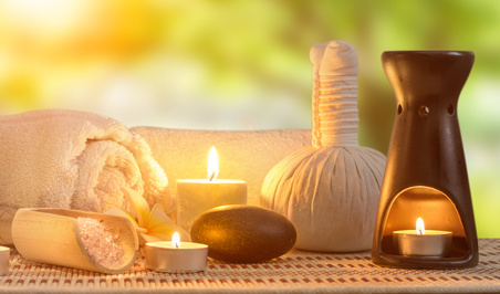 spa burning candle