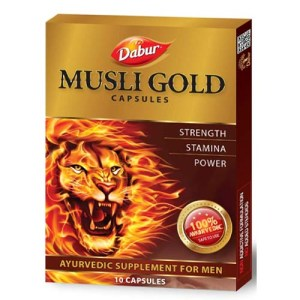 Dabur Musli Goldis an Ayurvedic formulation which improves strength, stamina and power and beneficial in relieving general weakness.