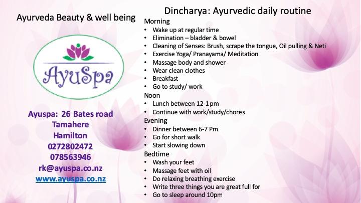 Dincharya,  Ayurvedic daily routine