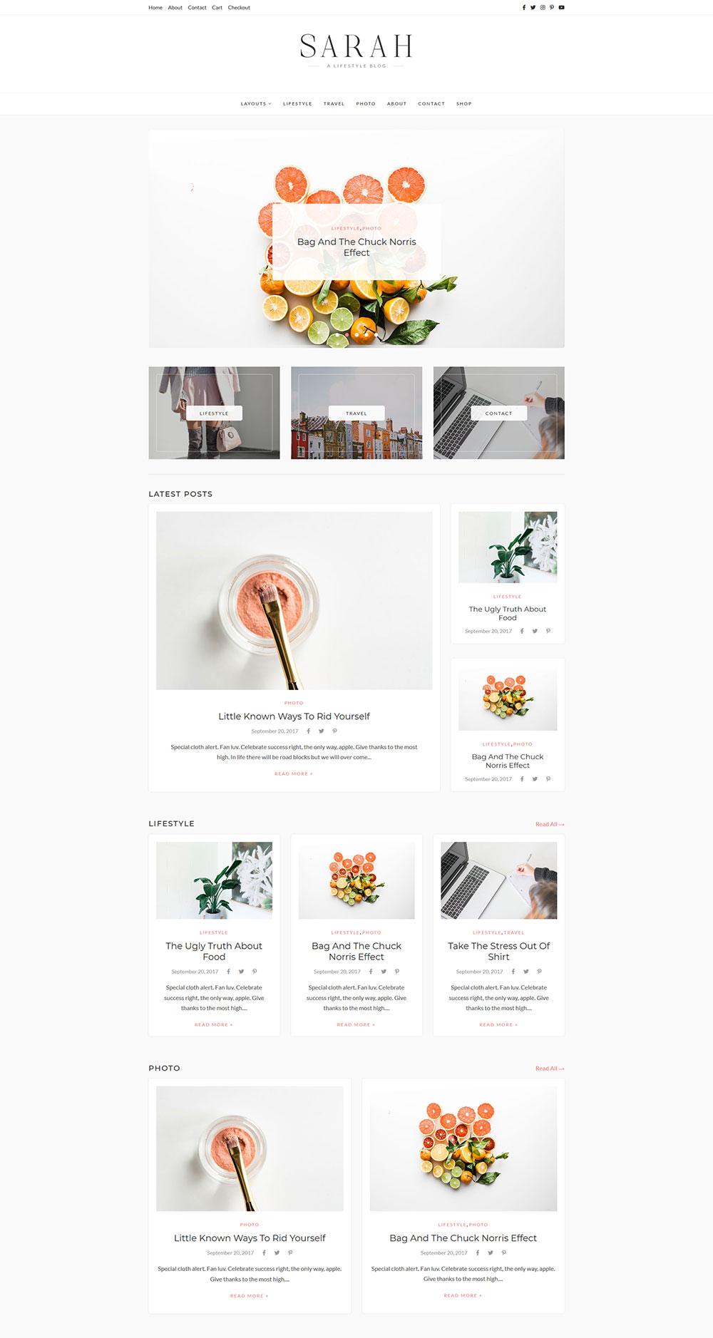 Sarah - Lifestyle WordPress Blog Theme