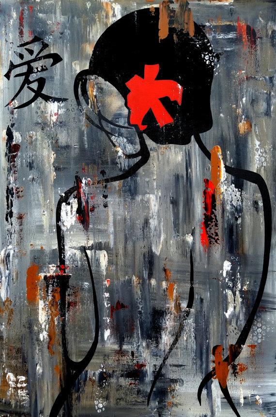 Zen Bath Original Abstract Painting Modern Pop Art