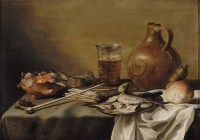 """""""Still life with smoking equipment, herrings, a beer glass ..."""