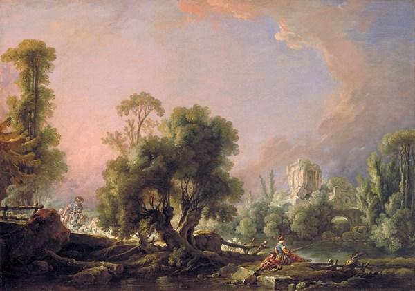 """""""idyllic landscape with woman fishing"""""""