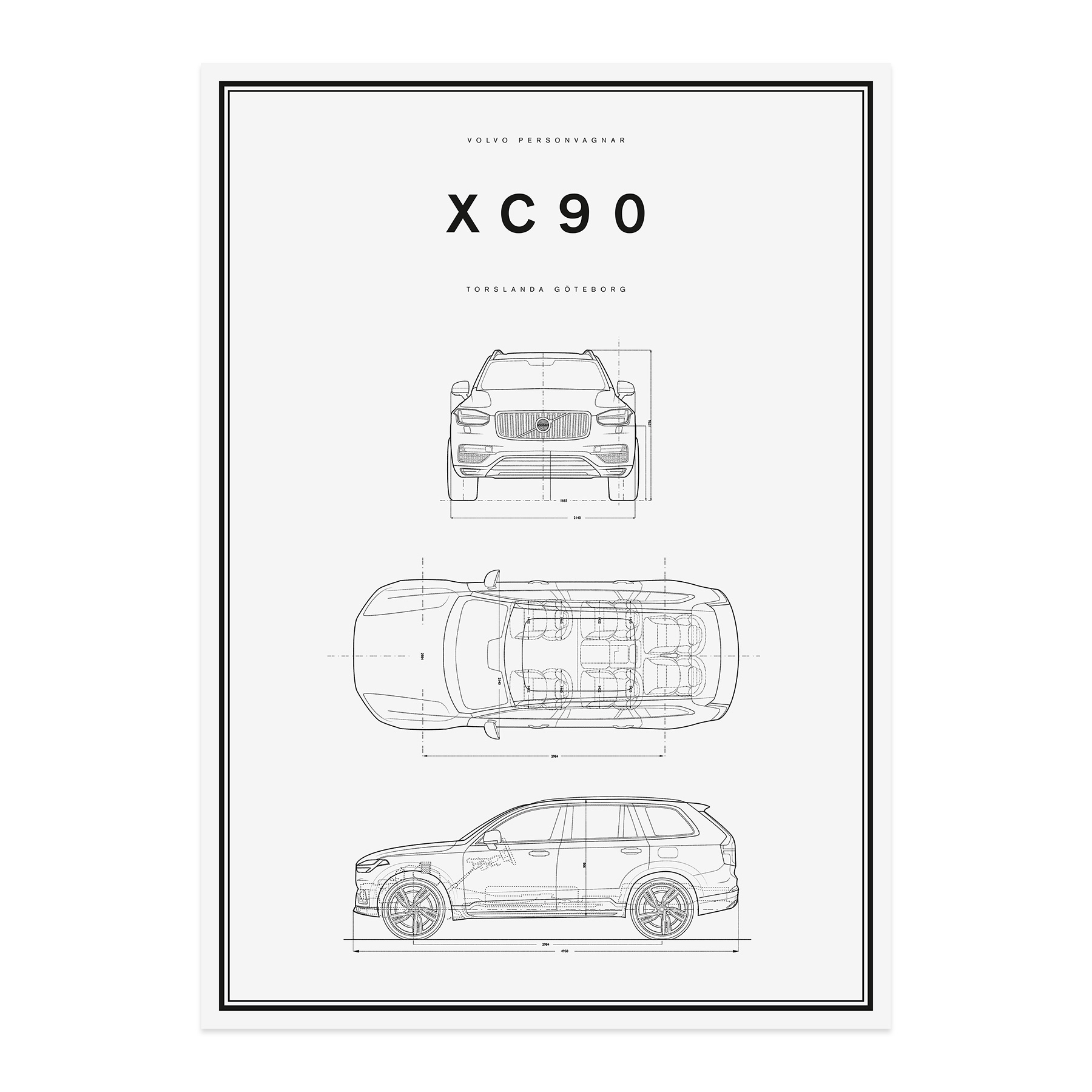 Volvo Car Lifestyle Collection Shop. XC90 Line Drawing Poster