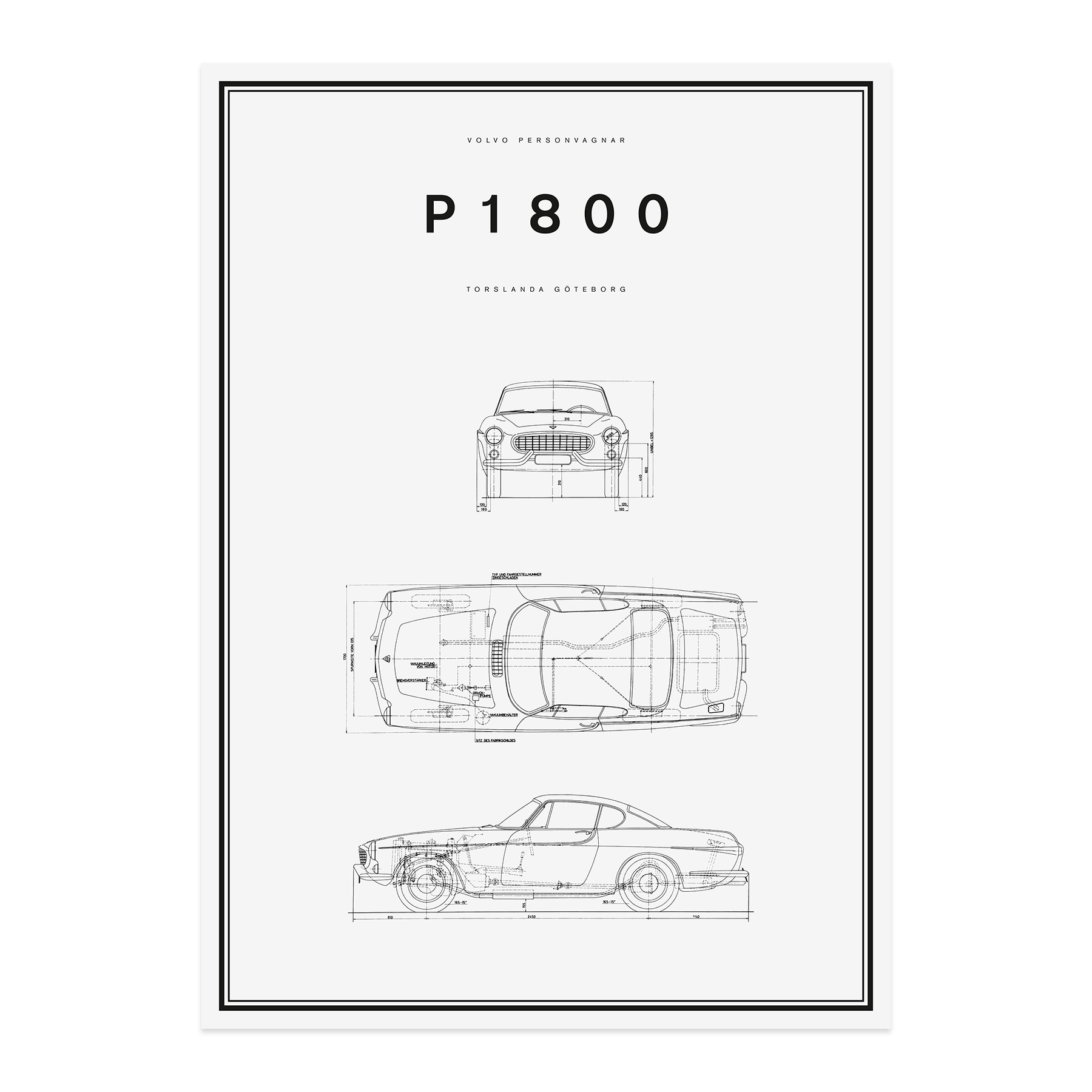 Volvo Car Lifestyle Collection Shop. P1800 Line Drawing Poster