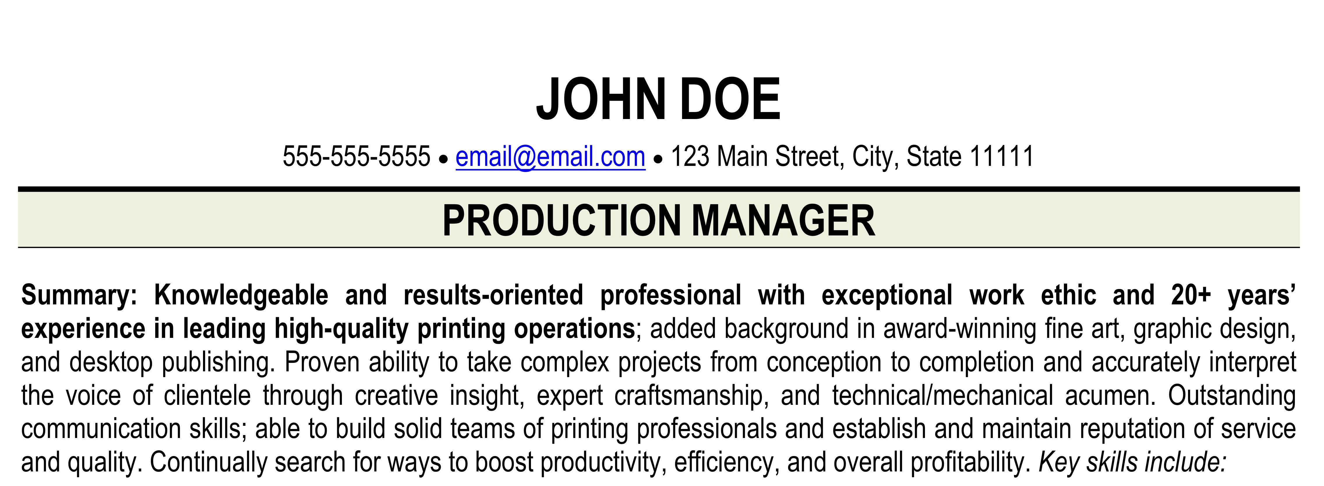 Summary Paragraph Resume Resume For Printing Industry Print Shop Resume Ihireprinting