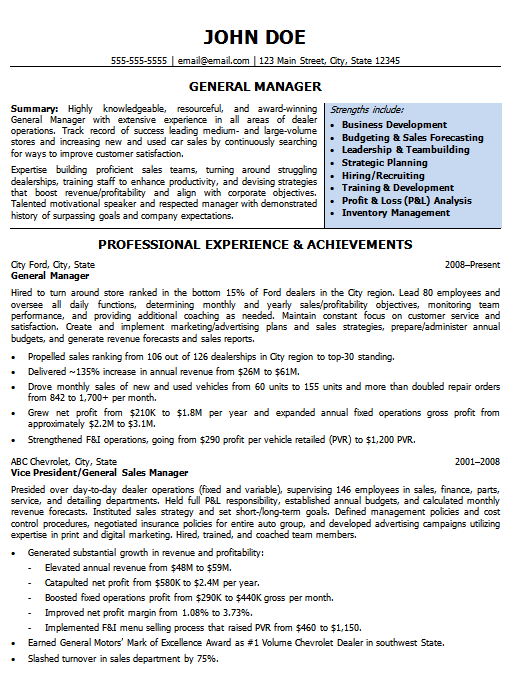 Automotive Resumes General Manager Resume Sample