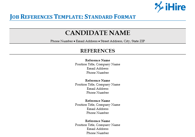 how to format references for a job