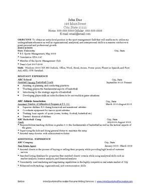 Sports and Recreation Resume Writing Service  iHireSportsandRecreation