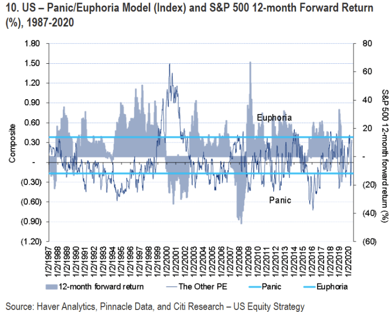 Citi's panic/euphoria model is used as a longer term indicator, indicating a 12 month direction.