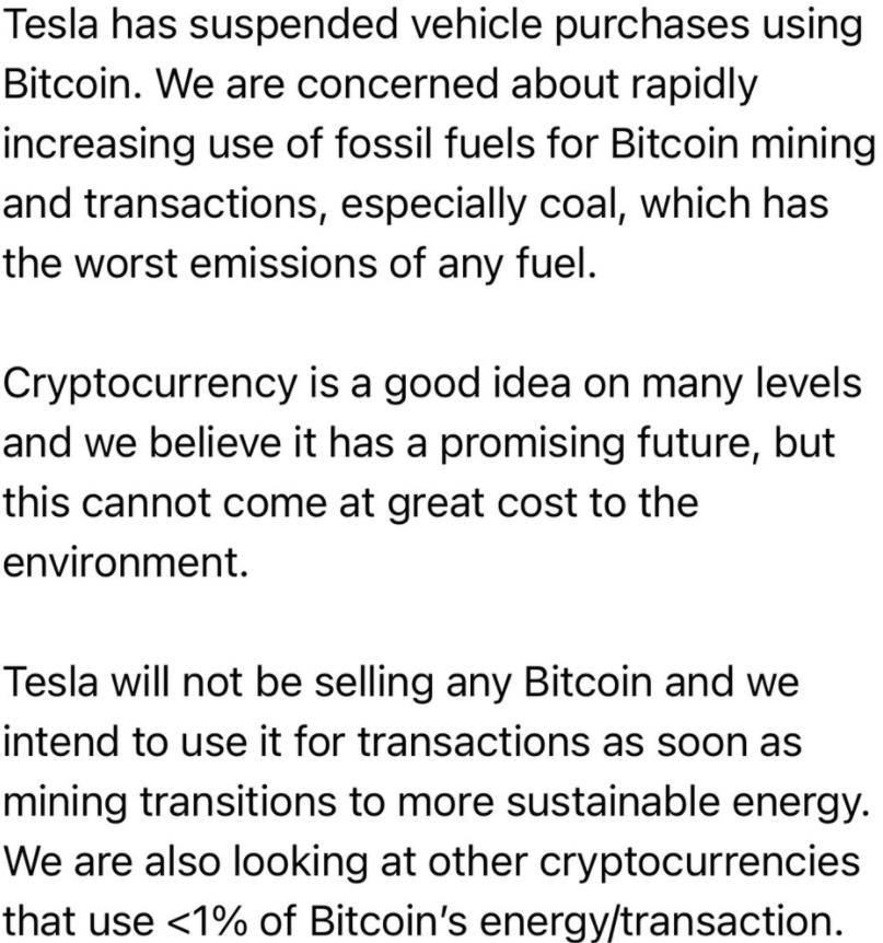 Elon Musk kicked of the rout in the price of BTC and other cryptos earlier in the session: