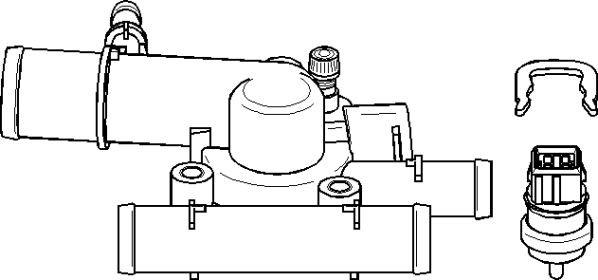 Thermostat, coolant, Front side, Transmission side