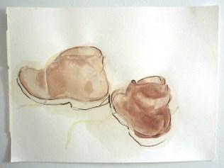 Pencil, tea, watercolor on paper. 2012