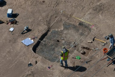 Archaeologists excavate a Hohokam pit structure at Fort Lowell (photograph by Henry Wallace, 2012)