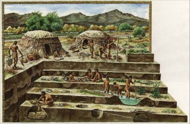 Artist's conception of the Las Capas site, by Michael Hampshire