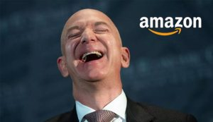jeff bezos laughing while his company pays zero dollars in taxes
