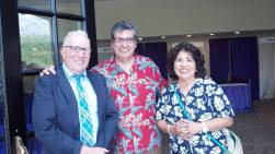 Board member Jack Levine greets former Bar President Ray Hanna, center, pictured with Ray's Convention Co-Chair Hon. Margarita Bernal.