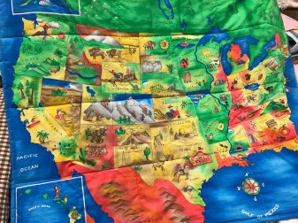 Carol P map print quilt.