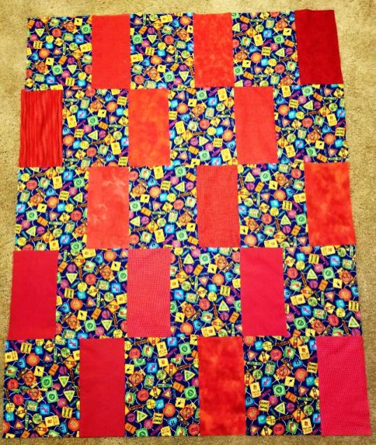 Easy Blanket with Scrappy Reds