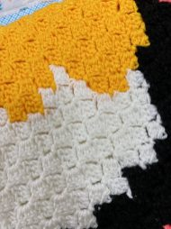Closeup of stitching on crocheted blankets.