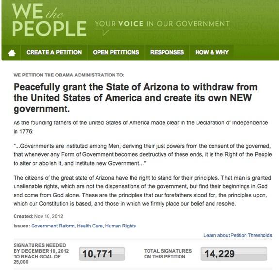 Arizona secession petition falls short of needed signatures ...
