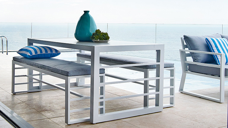 metal outdoor table and chairs australia dining room fabric buying guide furniture harvey norman settings