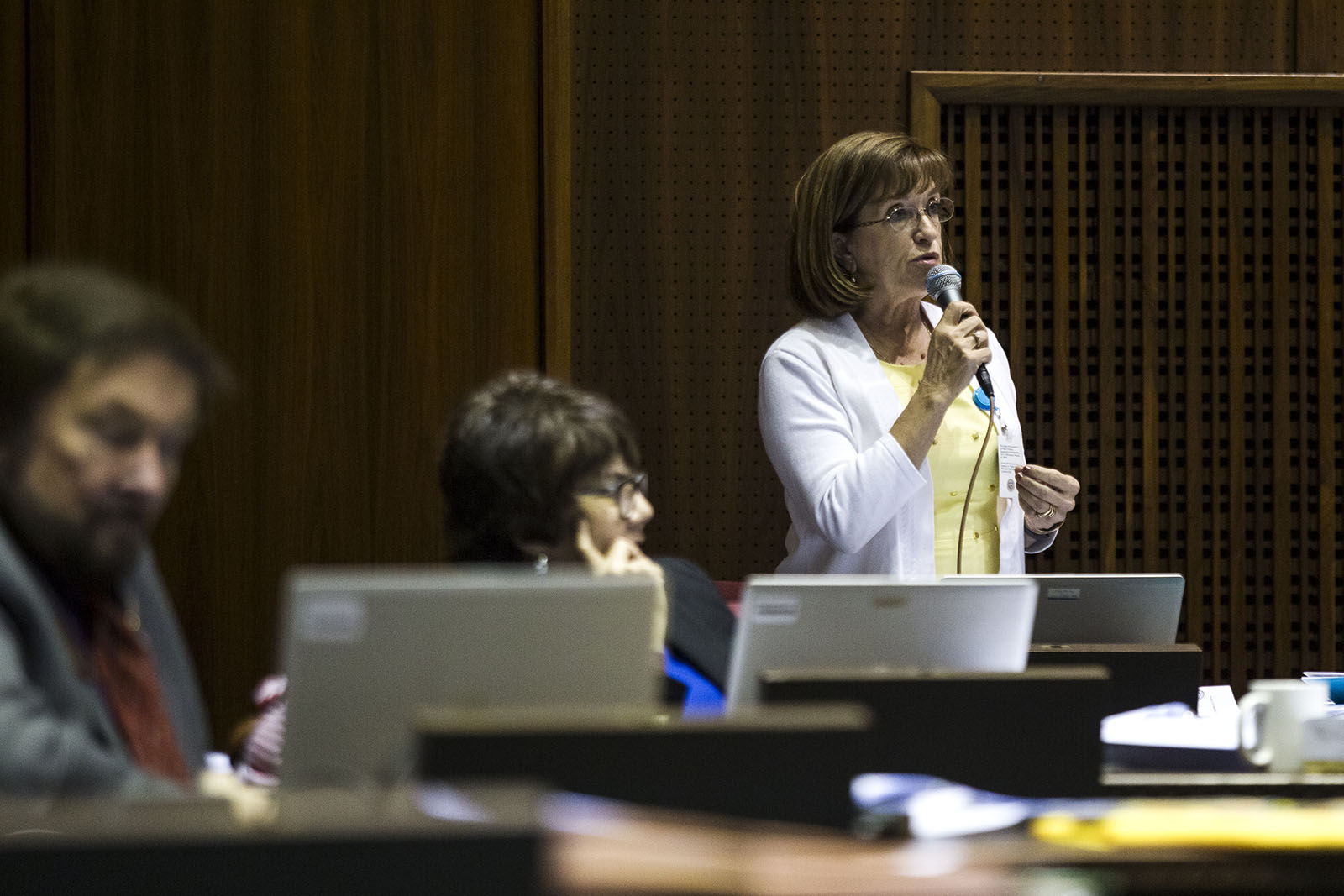 Rep. Debbie McCune Davis, D-Phoenix, shown here speaking on the floor of the Arizona House of Representatives on May 3, 2016, said that she believes Arizona is ripe for model legislation because of a large influence from lobbyists, among other reasons such as low pay for lawmakers and term limits. Photo by Sarah Jarvis/AZCIR