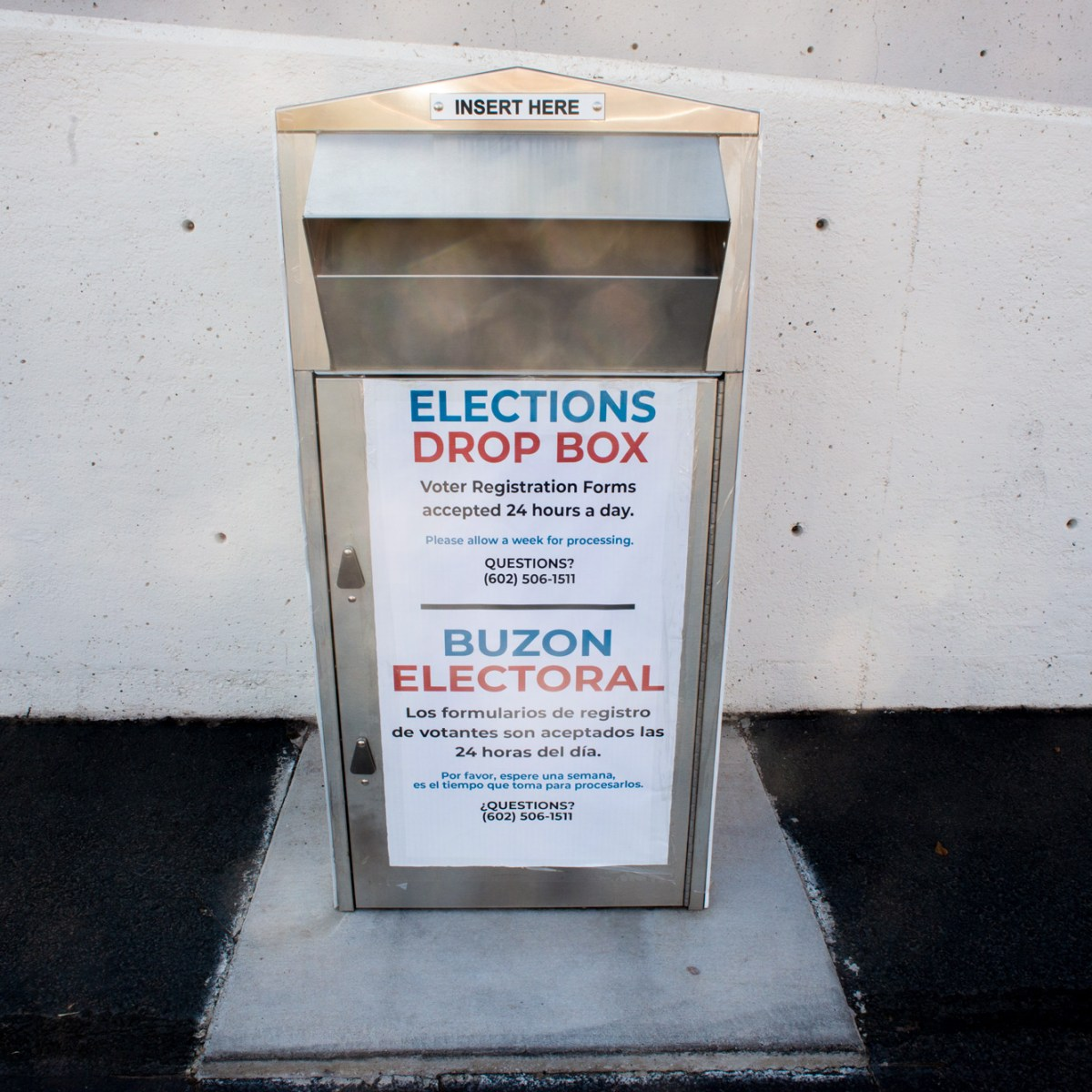 An election ballot dropbox is shown outside Maricopa County Tabulation and Election Center in downtown Phoenix on Sept. 25, 2020. Arizona has rejected tens-of-thousands of ballots in each of the past three federal elections.