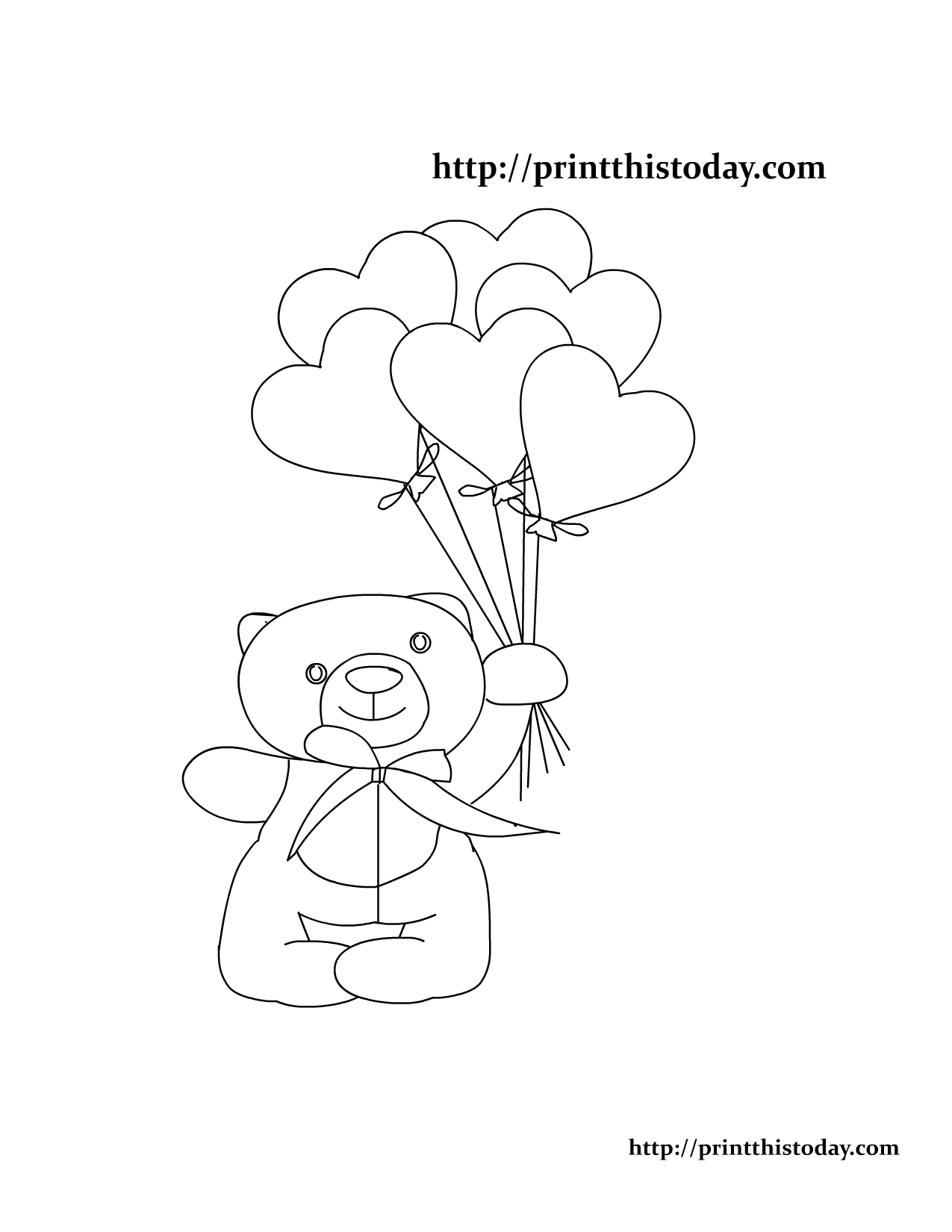 Teddy Bear And Heart Coloring Pages