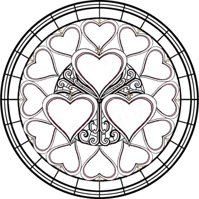 Simple stained glass coloring pages