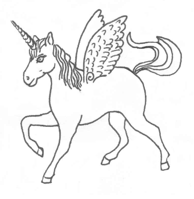 Simple Unicorn Outline Coloring Coloring Pages