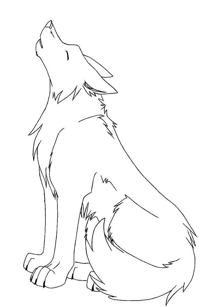 Drawing Wolf Girl Black Protecting