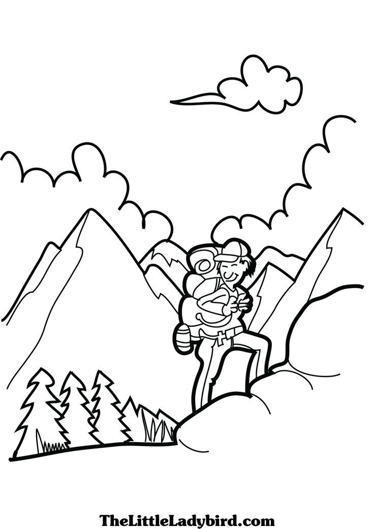 Hiking Coloring Pages Page Image Clipart Images