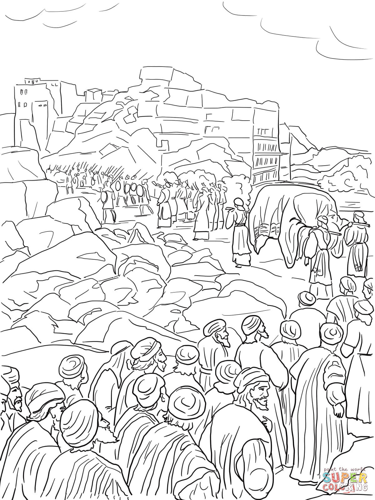 Joshua And The Wall Of Jericho Coloring Pages