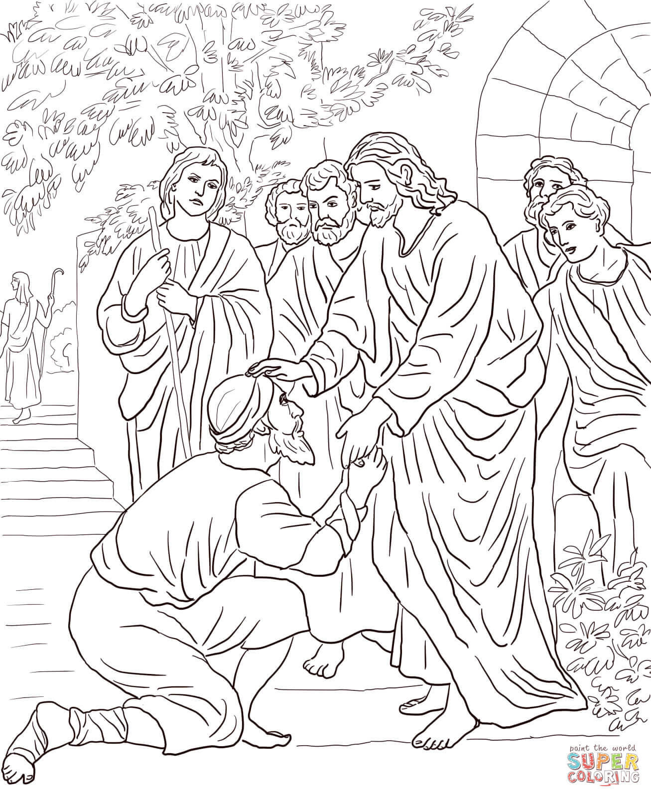 Jesus Heals A Man With Leprosy Coloring Page Coloring Pages