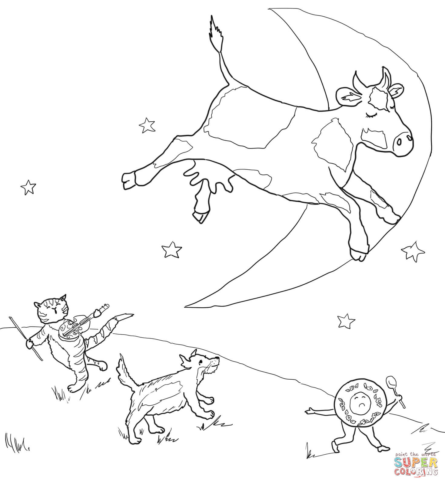 Cow Jumped Over The Moon Coloring Page Coloring Pages