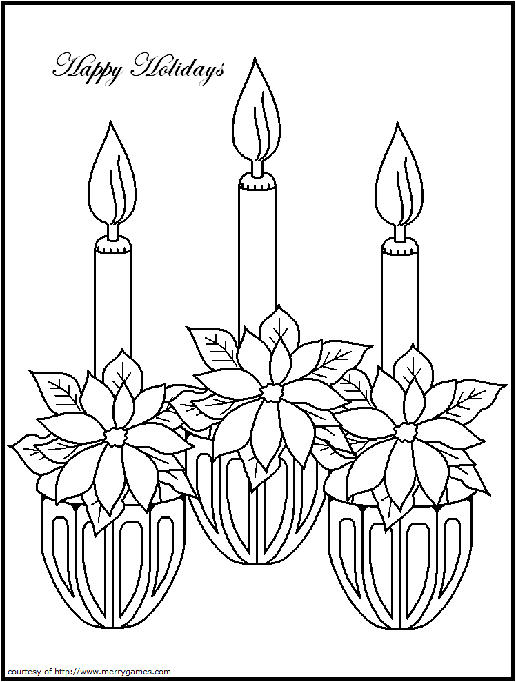 Christmas Candle Holder Sheet Coloring Pages