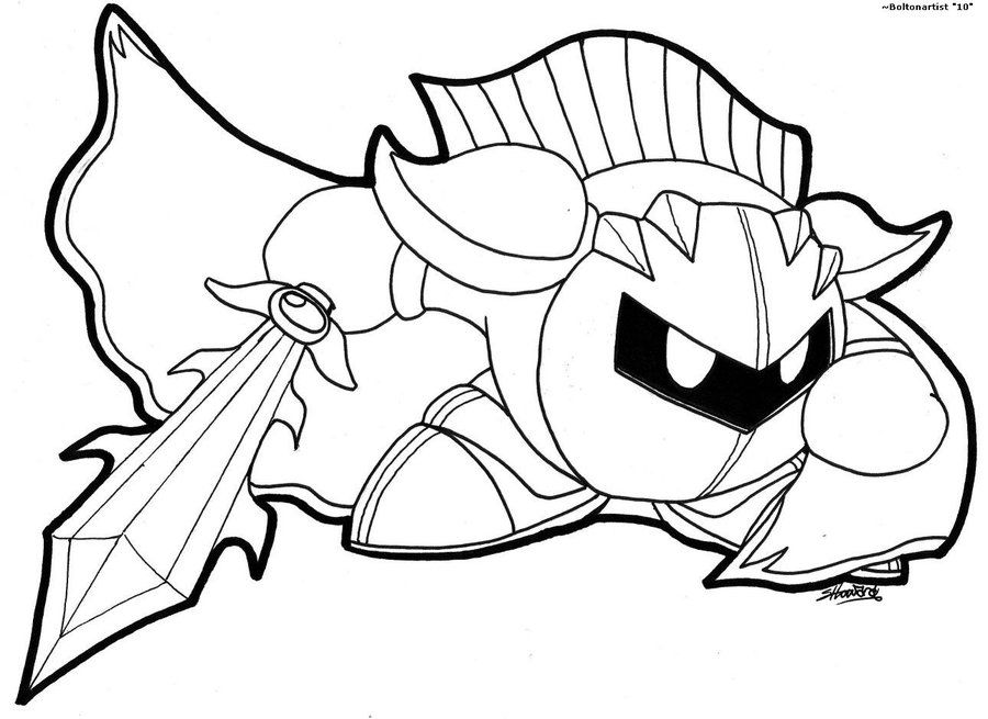 Kirby Coloring Pages Meta Knight