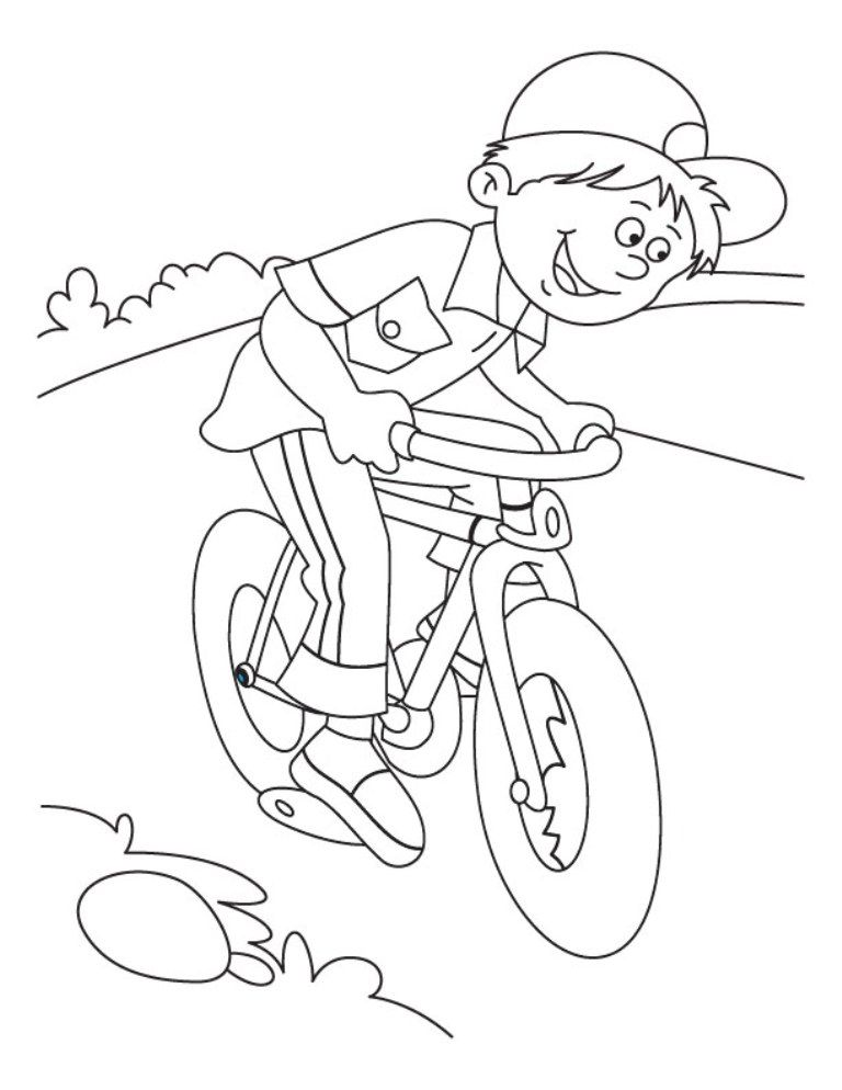 Download Riding Bicycle Coloring Page For Kids Or Print