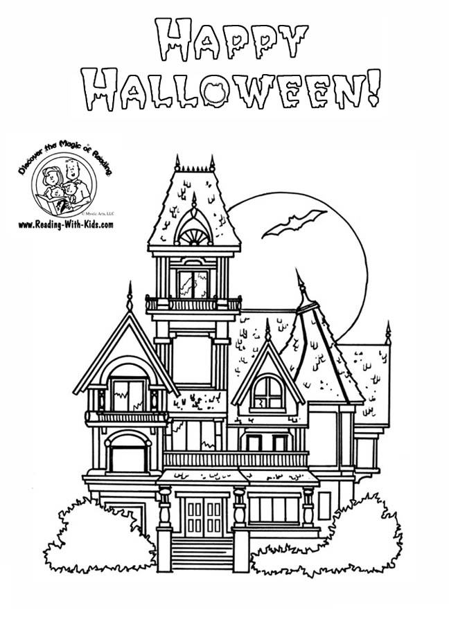 Halloween Coloring Pages Haunted House Coloring Home