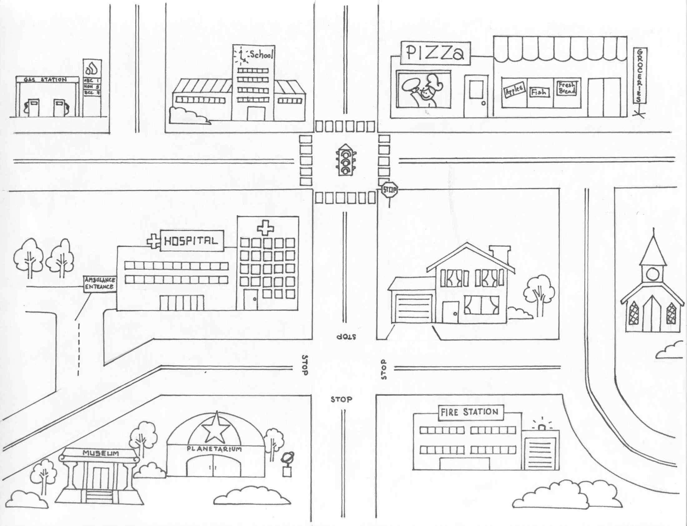 Neighborhood Map Coloring Page