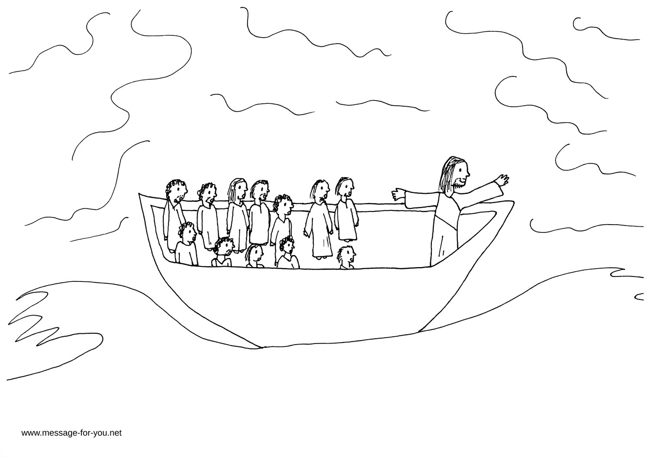 Jesus Calms The Storm Coloring Page Printable Coloring Pages