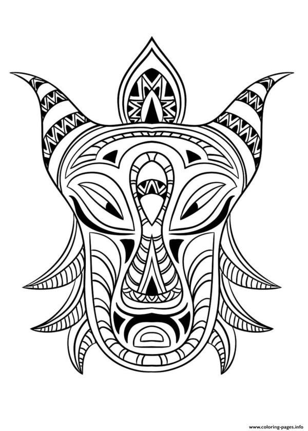 African Mask Coloring Page - Home