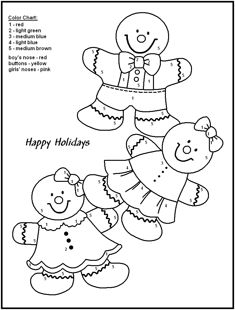 Color By Number Worksheets For Kindergarten Christmas