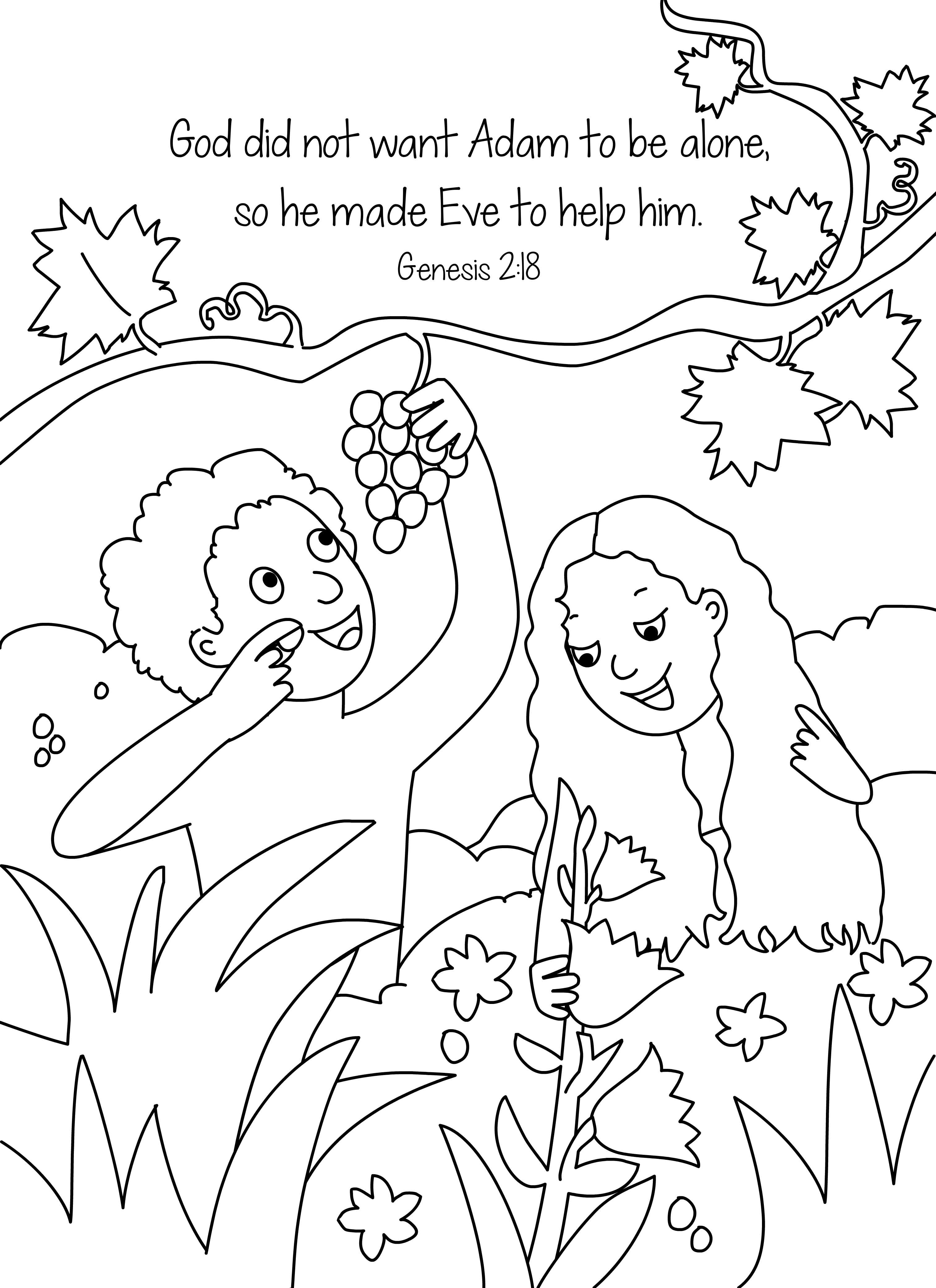 Free Bible Coloring Pages Of Adam And Eve