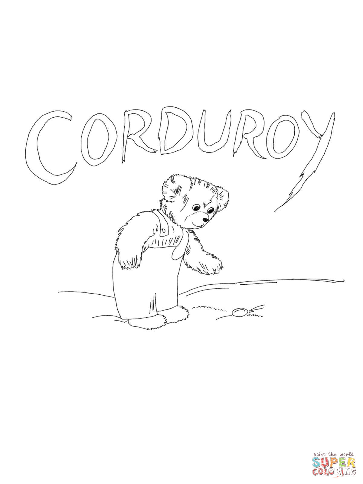 Free Printable Corduroy Bear Coloring Sheet Sketch Coloring Page