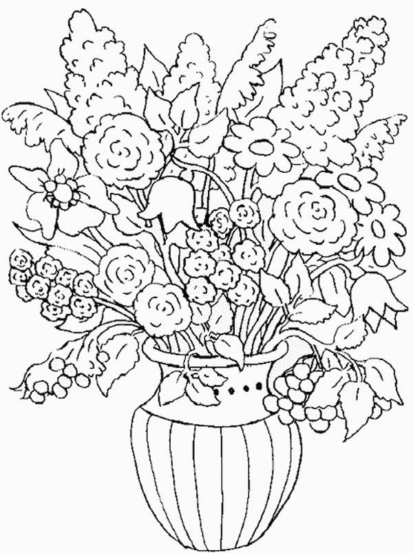 Vase And Flowers Coloring Page Az Pages Sketch Coloring Page