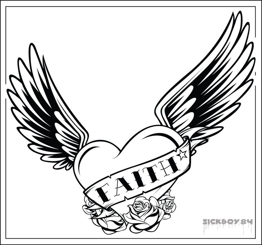 Heart With Wings And Cross Drawings Sketch Coloring Page